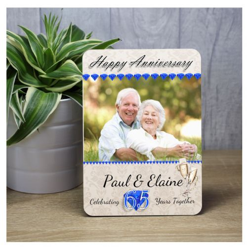 Personalised 65th Sapphire Wedding Anniversary Wood Photo Panel Print Gift F35